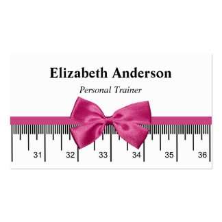 Modern Personal Trainer With Girly Pink Ribbon Pack Of Standard Business Cards