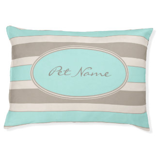 Modern personalized dog bed Blue and brown striped