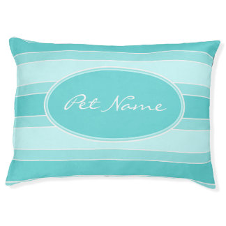 Modern personalized dog bed Turquoise striped