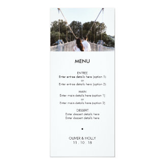 Modern photo template wedding menu card