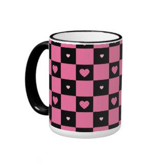 Modern Pink and Black Checker Pattern Girly Hearts Ringer Mug