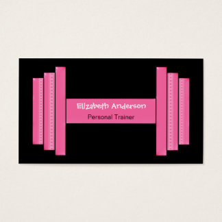 Modern Pink And Black Personal Trainer Business Card