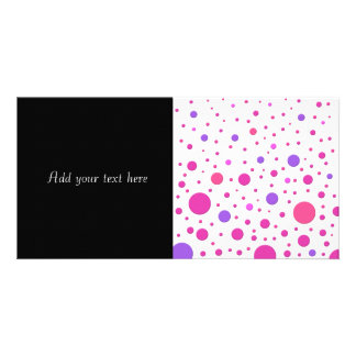 Modern Pink and Purple Random Circles Personalized Photo Card