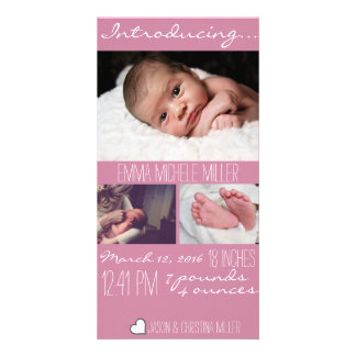 Modern Pink Baby Birth Announcement Photo Card