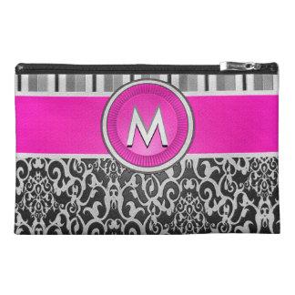 Modern Pink Damask Monogram Travel Accessory Bag