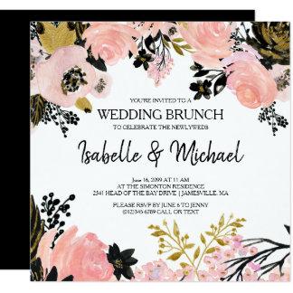 Modern Pink Floral Post Wedding Brunch Invitations