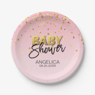 Modern PINK Ombre Grey Gold Foil GIRL Baby Shower Paper Plate