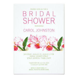 MODERN PINK ORCHIDS BRIDAL SHOWER INVITATION