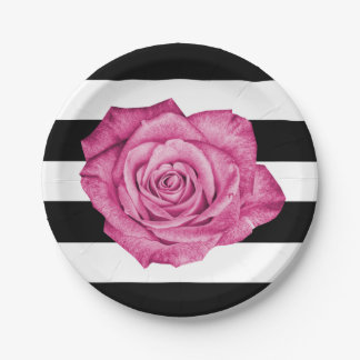 Modern Pink Rose Black White Striped Wedding Party Paper Plate