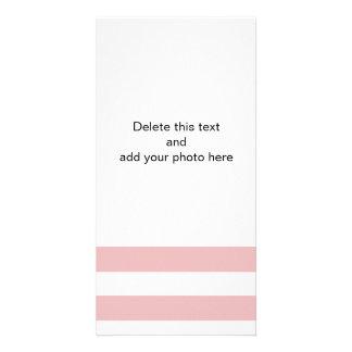 Modern Pink White Stripes Pattern Photo Card
