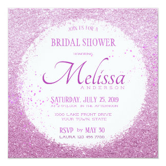 Modern Pinkish Purple Faux Glitter Bridal Shower Card