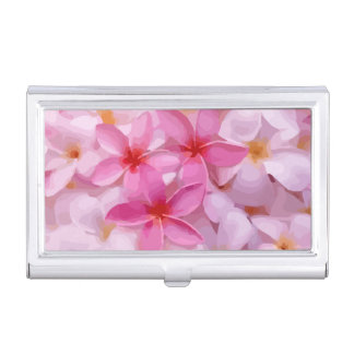 Modern Plumeria - Abstract Pink Flowers Business Card Holder
