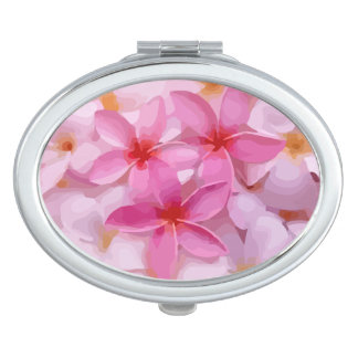 Modern Plumeria - Abstract Pink Flowers Mirror For Makeup