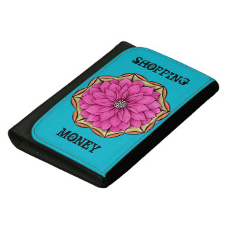 MODERN POINSETTIA in MAGENTA Leather Wallet