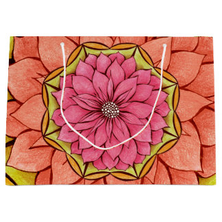 MODERN POINSETTIA in PEACH / PINK Large Gift Bag
