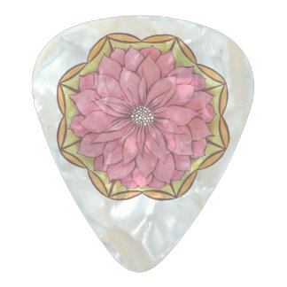 MODERN POINSETTIA in PINK Pearl Celluloid Guitar Pick
