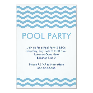 Modern Pool Party Invitations in Light Blue