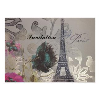 "modern poppy flower damask paris eiffel tower 5"" x 7"" invitation card"