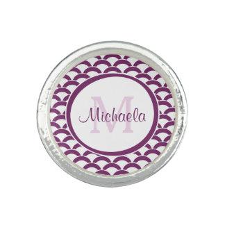 Modern Purple and White Scallops Monogram and Name