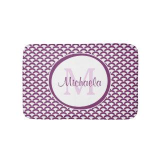 Modern Purple and White Scallops Monogram and Name Bath Mat
