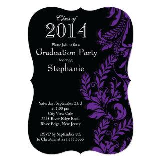 Modern Purple Black Class of 2014 Graduation Party Card
