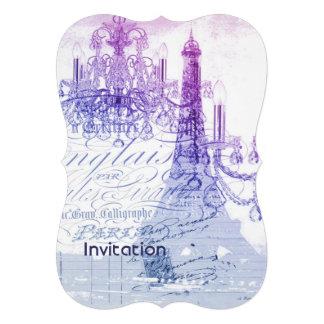 modern purple chandelier paris eiffel tower custom invite