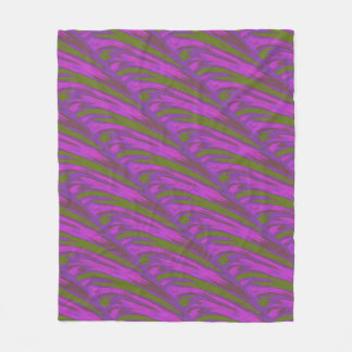 Modern Purple chartreuse Color Swish Fleece Blanket