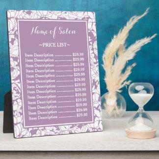 Modern Purple Floral Girly Beauty Salon Price List Plaque