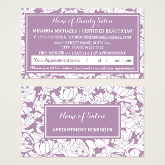 Modern Purple Floral Salon Appointment Reminder Business Card