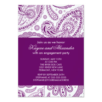 Modern Purple Paisley Engagement Party Invitations
