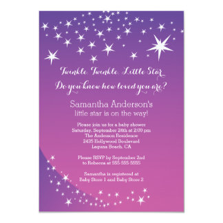 Modern Purple Star Baby Shower Invitation