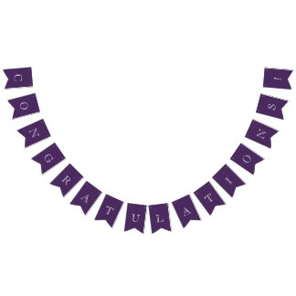 Modern Purple & White Congratulations Bunting