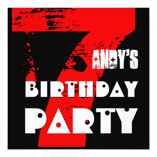 Modern RED 7th Birthday Party 7 Year Old V10A 13 Cm X 13 Cm Square Invitation Card