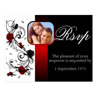Modern Red and Black Rose Wedding RSVP Postcard