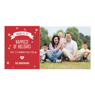 Modern Red Christmas Photo Card with Snowflakes