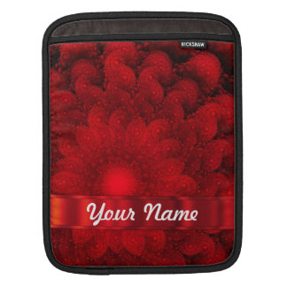 Modern red fractal abstract sleeves for iPads