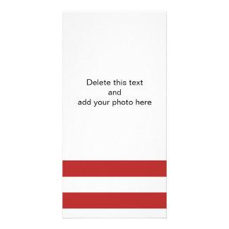 Modern Red White Stripes Pattern Photo Card