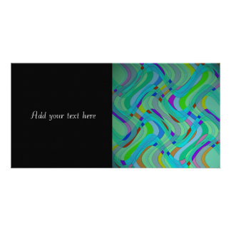 Modern Retro Abstract Design in Blues and Greens Custom Photo Card