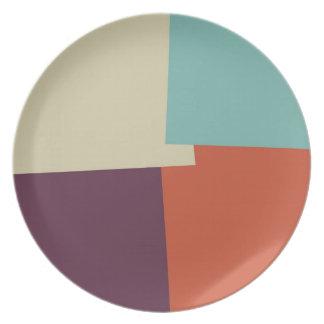Modern Retro Color Geometric Pattern #7 Plates