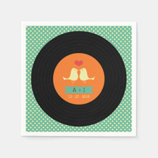 Modern Retro Vinyl Record Wedding Disposable Serviette