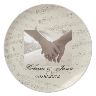 Modern Romantic Music notes Music Wedding Plate