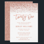 Modern Rose Gold Faux Glitter 21st Birthday Invitationbrdiv Class