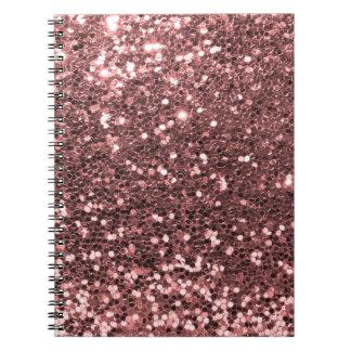 Modern Rose Gold Faux Glitter Print Notebook