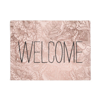 Modern rose gold floral hand drawn on blush pink doormat