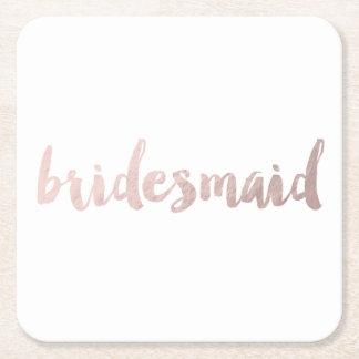 modern rose gold foil bridesmaid square paper coaster