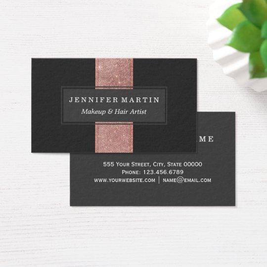 Modern Rose Gold Glitter Black Colour Blocks Business Card