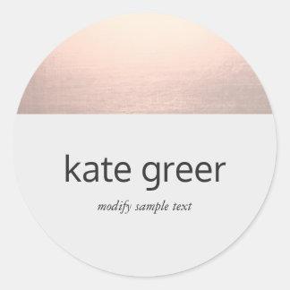 Modern Rose Gold Light Grey Round Sticker