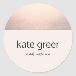 Modern Rose Gold Light Pink Round Sticker
