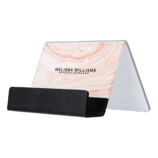 Modern Rose-Gold Marble Swirls Stone Texture Desk Business Card Holder