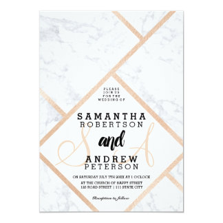 Modern rose gold white marble color block wedding card